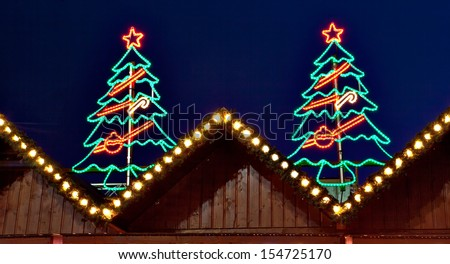 Christmas Lights On Roof Stock Images, Royalty-Free Images ...