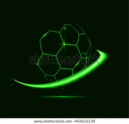 Neon lines of football ball. - stock photo