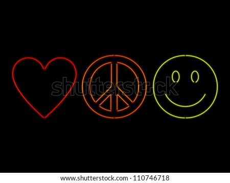 Neon Love Peace And Happiness - raster - stock photo