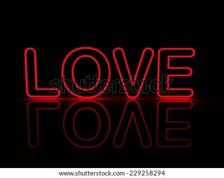 Neon Love - The word LOVE glowing red with reflections - stock photo