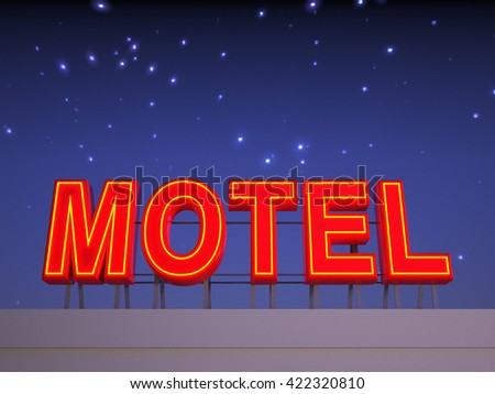 Neon motel sign with a night stars sky in the background.