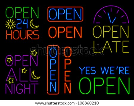 Neon Open Signs - raster - stock photo