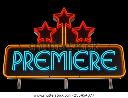 Neon Premiere Sign on Dark Background