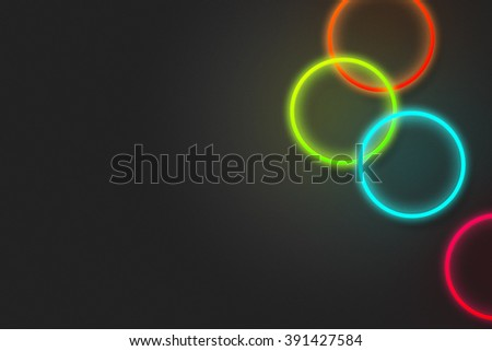 Neon Rings Background - stock photo