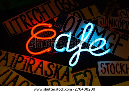 Neon shining signboard at night