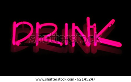 Neon sign, Drink - stock photo