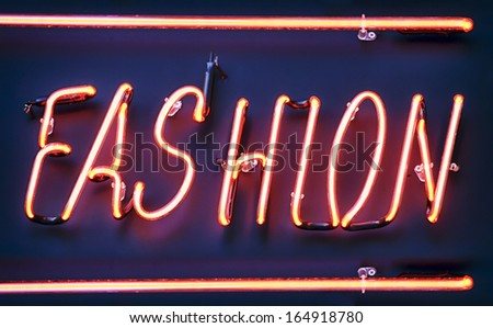neon sign for fashion - close-up - stock photo