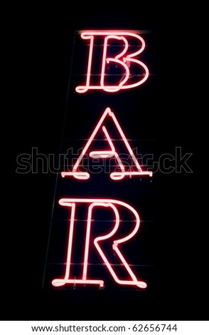 Neon sign of a Bar. Blue halo. - stock photo