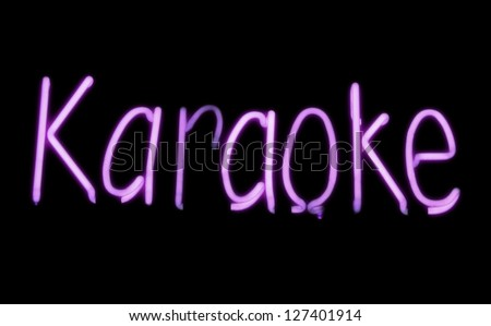 Neon sign of a Karaoke Club. Photograph. - stock photo