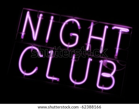 Neon sign of a night club - stock photo