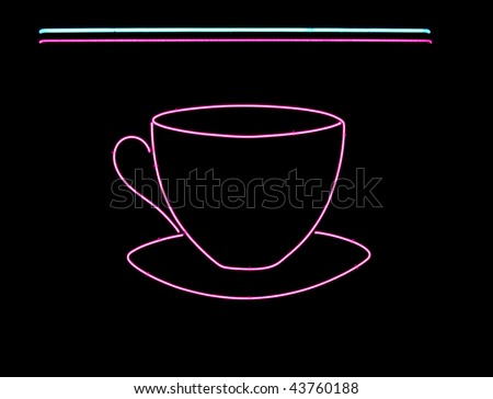 Neon sign often found in the window of a coffee shop, cafe or diner - stock photo