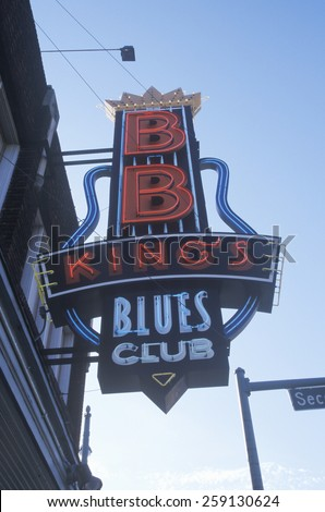 Neon sign outside BB King's Blues Club at sunset, Memphis, TN - stock photo