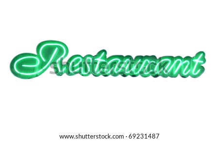 "neon sign ""Restaurant"" isolated on white - stock photo"