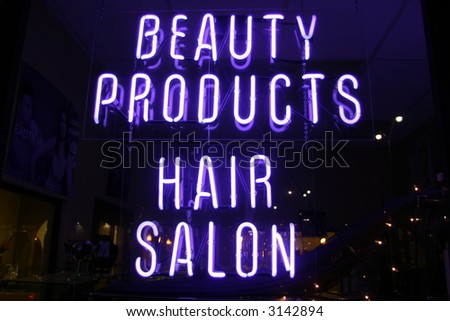 """Neon Sign series  """"beauty products, hair salon"""" - stock photo"""