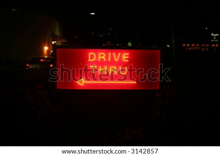 "Neon Sign series  ""Drive Through <-----"" - stock photo"