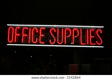"Neon Sign series  ""office supplies"""