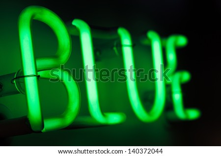 Neon Sign spelling Blue - stock photo