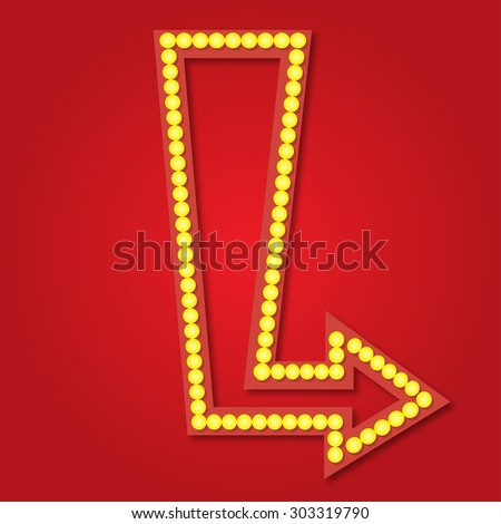 Neon sign template arrow style illustration - stock photo