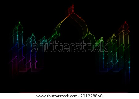 Neon silhouette of Taj Mahal on a black background - stock photo
