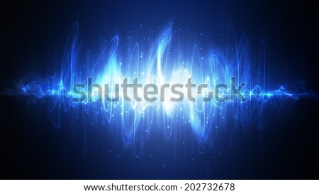 Neon sound waves. Music round background of a form of a wave. - stock photo