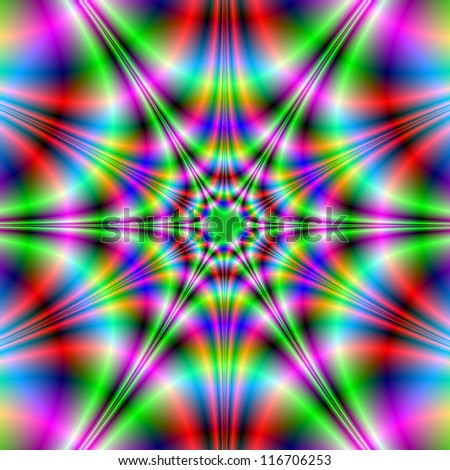 Neon Star/Abstract fractal image with a psychedelic star design in red, green, pink and blue.