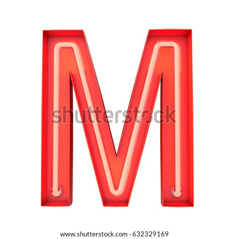 Neon Style Light Letter M Glowing Capital 3D Rendering