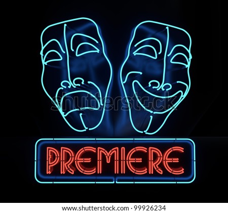 Neon Theater Sign on dark background - stock photo