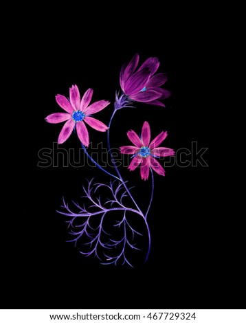 Neon watercolor painting of a cosmos flower branch with three flowers