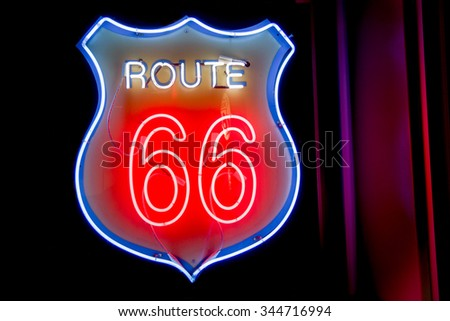 Neon window sign 50's style Historic Route 66,