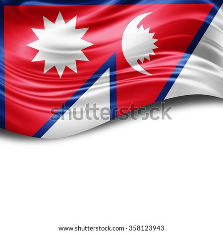 Nepal flag of silk with copyspace for your text or images and White background