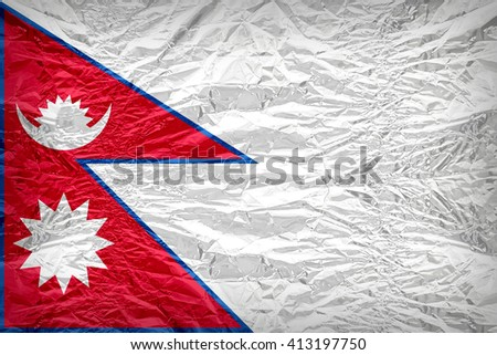 Nepal flag pattern overlay on floyd of candy shell, vintage border style - stock photo