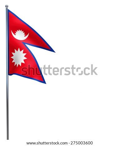 Nepal flag waving image isolated on white. Clipping path included. - stock photo