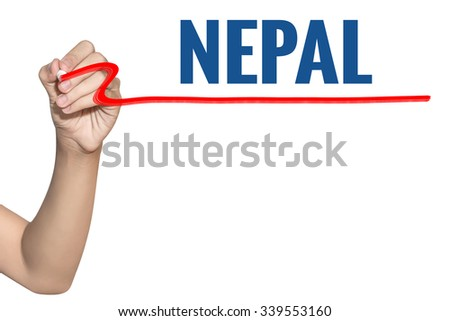 Nepal word write on white background by woman hand holding highlighter pen - stock photo