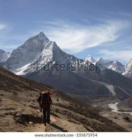 Nepalese landscape, Amadablam - stock photo