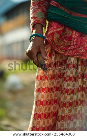 Nepalese woman in farmland