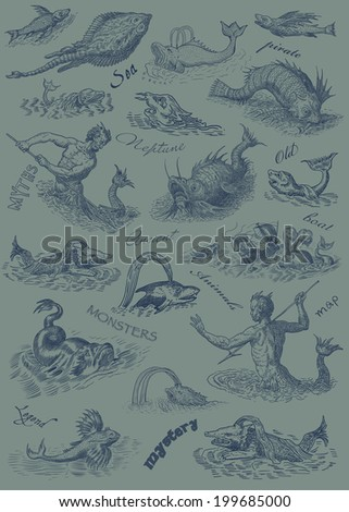 Neptune and monsters illustration - stock photo