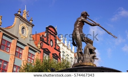 Neptune fountain in Gdansk Old Town in Poland. Landmark architecture.