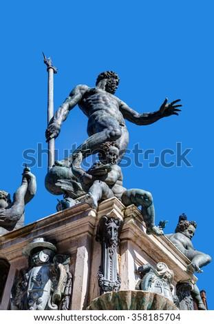 Neptune fountain in the Piazza Maggiore in Bologna, Italy - stock photo