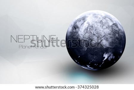 Neptune - High resolution 3D images presents planets of the solar system. This image elements furnished by NASA. - stock photo