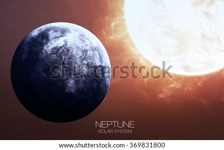 Neptune - High resolution images presents planets of the solar system. This image elements furnished by NASA. - stock photo