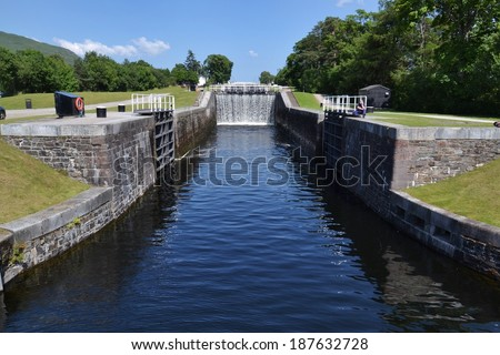 Neptune's Staircase - a staircase lock on the Caledonian Canal, the longest staircase lock in Britain - stock photo