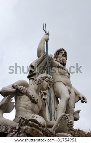 neptune statue - stock photo