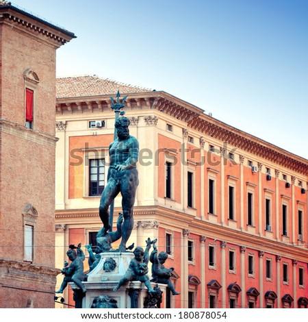 Neptune Statue is a famous monument of the italian Renaissance, located in Bologna most important square, Piazza Maggiore. - stock photo