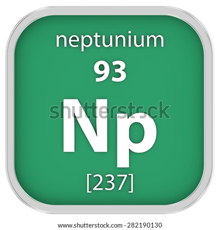 Neptunium material on the periodic table. Part of a series. - stock photo