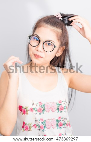 Nerd asian young lady woman with circle hipster glasses on white background