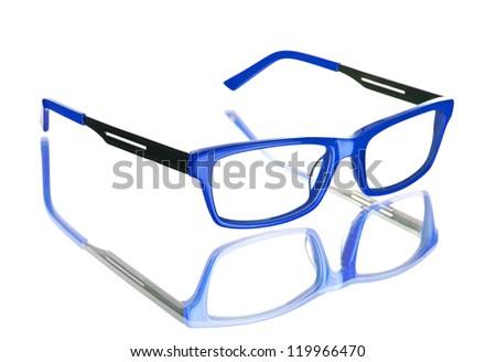 Nerd blue glasses on isolated white background, perfect reflection - stock photo
