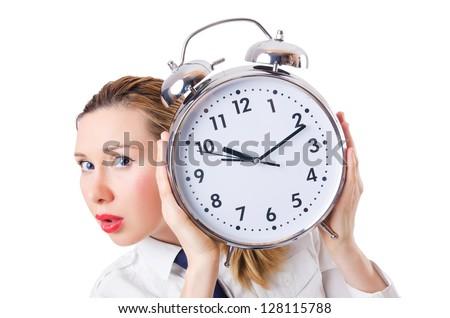 Nerd businesswoman with gian alarm clock - stock photo
