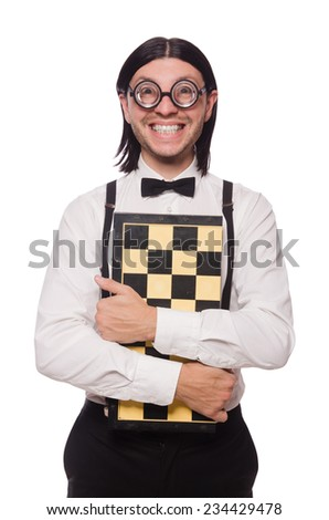 Nerd chess player isolated on white - stock photo