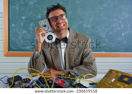 Nerd electronics technician silly retro teacher in love with self made robot