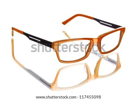 Nerd glasses isolated on white background, perfect reflection - stock photo